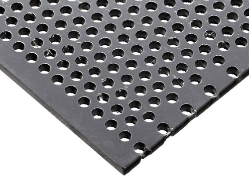 PVC (Polyvinyl Chloride) Perforated Sheet, Staggered Holes, Opaque Gray, 0.125