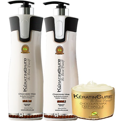 Keratin Cure Chocolate 3 Piece Care for Hair Sulfate Free Sh