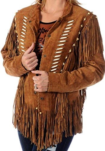 Ladies Brown Premium Suede Leather Western Women Fringe Jacket (XL)
