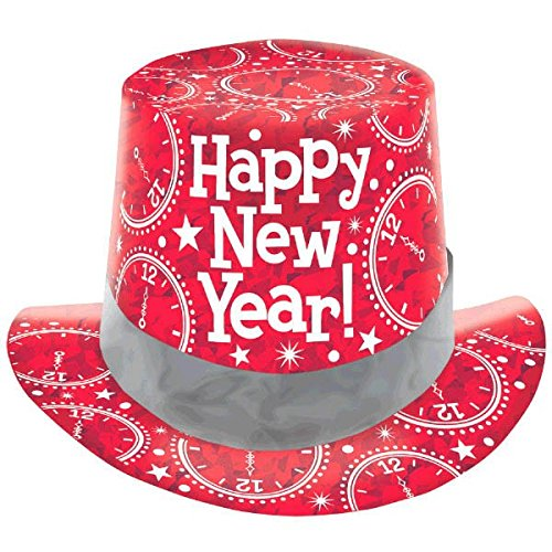 [Amscan Rocking New Year's Party Clocks Prismatic Top Hats Accessory (Pack Of 1), Red, 5
