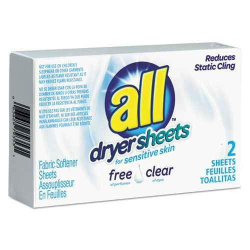 All VEN2979353 Free Clear Vend Pack Dryer Sheets, Fragrance Free, 2 Sheets Per Box, 100 Box Per Carton