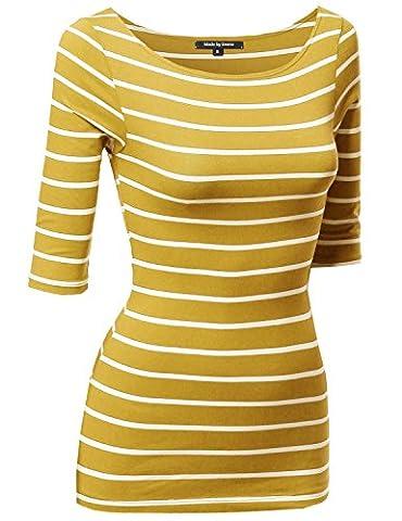 Junior Basic Casual 3/4 Sleeves Stripe Boat Neck Tee Top Mustard White M - Casual Stripe Pattern Shirts