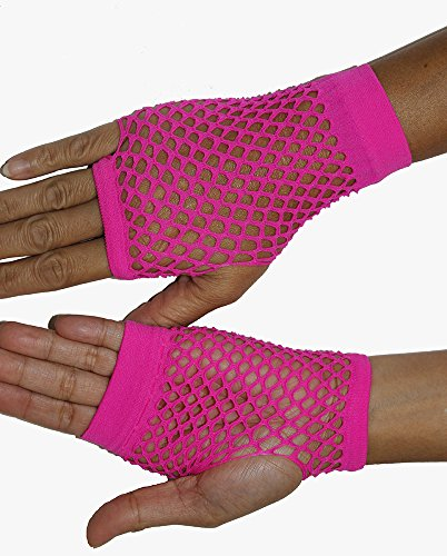 Be Wicked Women's Wrist Length Fingerless Fishnet Gloves, Hot Pink, One Size - Pink Fishnet Gloves