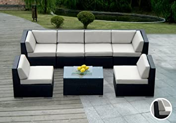 ohana 7piece outdoor wicker patio furniture sectional set with weather resistant cushions