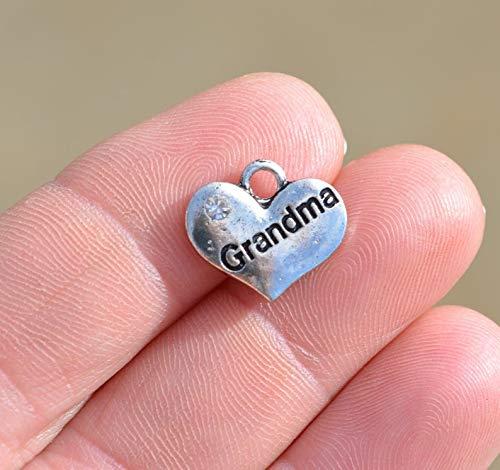 1 Grandma Silver Tone Heart Charm SC2386