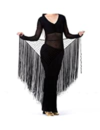 ZYZF Women's Belly Dance Knitted Net Triangle Short Tassels Hip Scarf