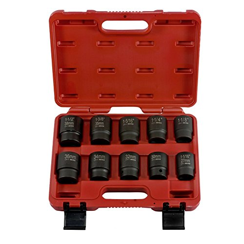Domeiki 10pc DuoMetric Air Impact Socket 3/4'' inch Drive Set w/ Blown Molded Case by Domeiki Home