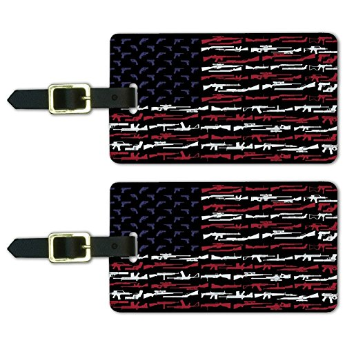 American Gun Flag USA Second 2nd Amendment Luggage ID Tags Cards Set of 2 ()