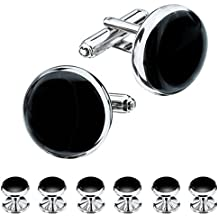 HAWSON Mens Blue and Black Cufflinks and Studs Set for Tuxedo Dress Shirt - Wedding Business Party Accessories