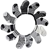 FASOTY 12 Pairs Assorted Non Skid Ankle Cotton Socks...