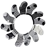 FASOTY 12 Pairs Assorted Non Skid Ankle Cotton Socks Baby Walker Anti Slip Stretch Sneakers Crew Socks with Grip for 16-36 Months Baby (Stripes Star Patterns)