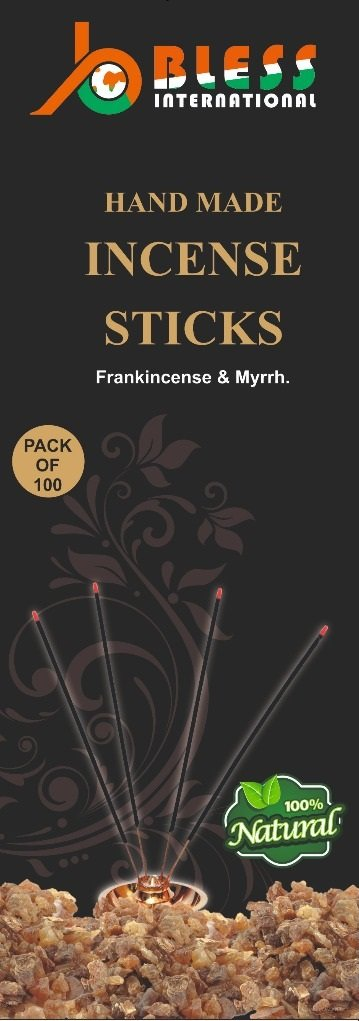 Bless-Frankincense-and-Myrrh 100/%-Natural-Incense-Sticks Handmade-Hand-Dipped The-best-woods-scent-100-sticks-pack Bless International BLESSIIS1