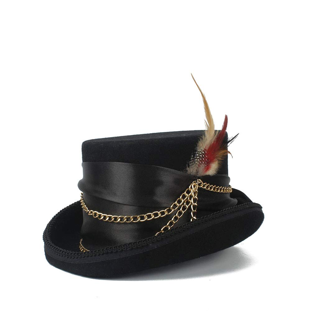 LL Women'sFeather Metal Chain Top Hat Ladies Wool Fedora Magician Party Hat 4Size S M L XL 13.5 cm (5.3 Inch) (Color : Black, Size : 61cm) by LL (Image #9)