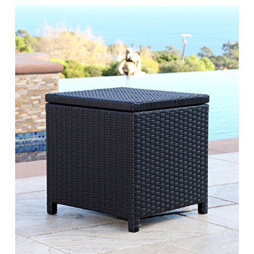 - Abbyson Living Newport Outdoor Black Wicker Storage Ottoman for Patio Pool