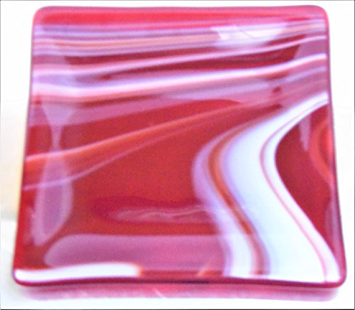 Red White Swirls Candy Candle Holder Trinket Catchall Dish Handcrafted Fused Glass