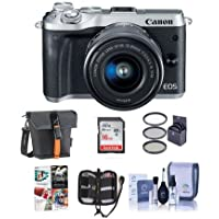 Canon EOS M6 Mirrorless Digital Camera Silver Kit with EF-M 15-45mm f/3.5-6.3 IS STM Lens - Bundle with Holster Case, 16GB SDHC Card, Memory Wallet, Cleaning Kit, 49mm Filter Kit, Software Package