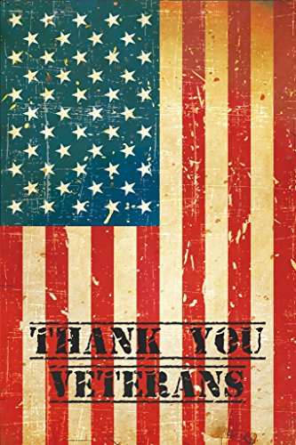 Felix Double Sided Premium 12x18 Rustic Thank You Veterans Seasonal Decorative Garden Flag. Patriotism, Gratitude and Freedom will be on display. (Garden Display Flag)