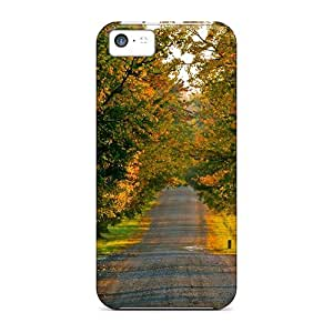 Excellent Iphone 5c Case Tpu Cover Back Skin Protector Countryside Road In Autumn