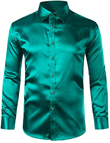 ZEROYAA Mens Regular Fit Long Sleeve Shiny Satin Silk Like Dance Prom Dress Shirt Tops Z6 Dark Green ()