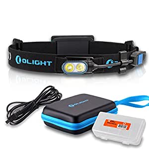 Olight HS2 400 Lumen USB Rechargeable Dual LED Compact Running Headlamp with Battery Pack & Lumen Tactical Battery Organizer