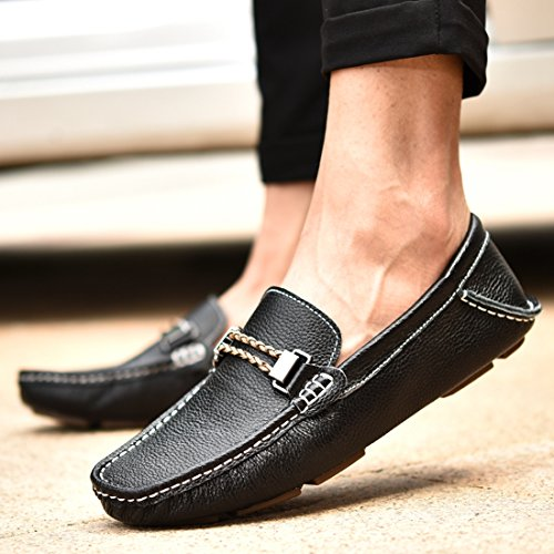 Boat TDA Moccasin Comfort Casual Loafers Leather Driving Flats Black Shoes Men's Penny qAz0qax