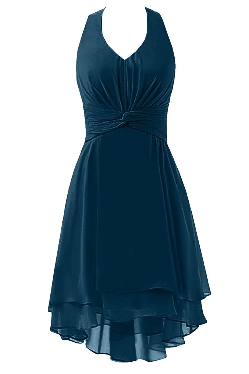 Sunvary Retro V Neck Halter Chiffon Knee Length Party Dresses Bridesmaid Gowns for 2016 Women