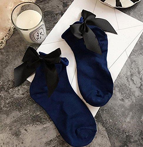 Calzini Sagton Donna Harajuku Street Style Cotone Caviglia Lunghezza Calze Crew Con Bowknot Navy + Nero