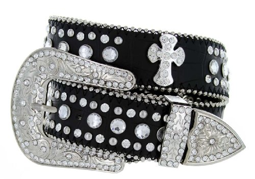 Womens Genuine Leather Rhinestone Cross Conchos Studded Belt - Black (38 - Western Rhinestone Belt Black
