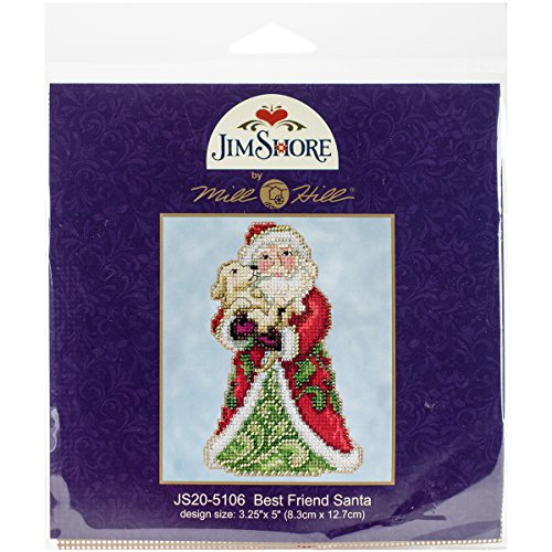 Jim Shore Best Friend Santa Counted Cross Stitch Kit-5x5 18 Count (Jim Shore Stitch Cross)