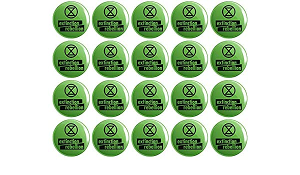 20 x Extinction Rebellion Logo BUTTON PIN BADGES 25mm 1 INCH