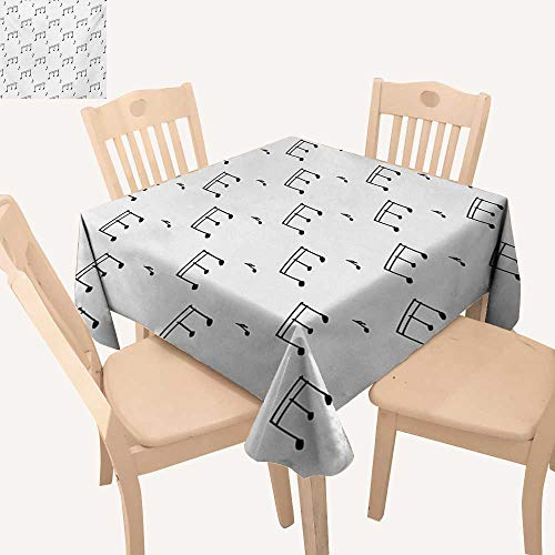 Angoueleven Music Jacquard Tablecloth Musical Notes Theme Melody Sonata Singing Song Clef Tunes Hand Drawn Style Pattern Small Tablecloth Charcoal Grey W 60