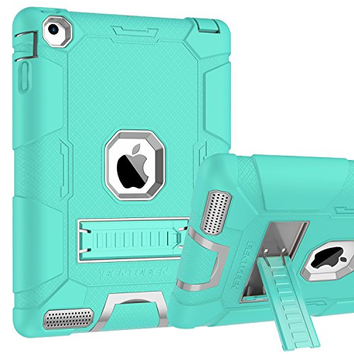 iPad 2 Case, iPad 3 Case, iPad 4 Case, BENTOBEN Heavy Duty Shockproof Kickstand Anti-slip 3 in 1 Full-body Rugged Soft Rubber Hard PC Protective Case for iPad 2 / 3 / 4 9.7 inch, Mint Green/Light Gray by BENTOBEN (Image #1)