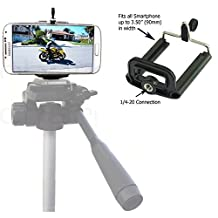 Universal Smartphone Tripod Adapter Holder for Apple iPhone 6s Plus 6 SE Samsung Galaxy S6 S7 EDGE Note LG G5 Mount Clip Holder with 1/4-20 Connector *Improve and Make Better Selfie Videos Pictures*