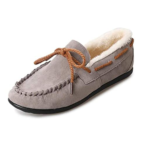 Yudesun Moda Mujer Mocasines de Cuero Zapatos - Casual Invierno Botas Conducción Colegio Ponerse Comodidad Loafers Suave Ocio Pisos Mocasines EU 36-39: ...