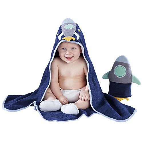 Baby Aspen Cosmo Tot Spaceship Gift Set, Blue/Yellow Mint, 4 Piece, Bath Time, 0-9 Months