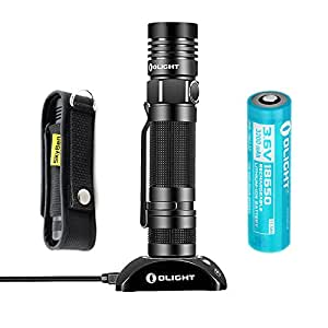 Olight S30R Baton II 1020 Lumens Flashlight Variable-Output USB Rechargeable Side-Switch Cree XM-L2 U3 LED Flashlight with Skyben High-Quality Holster and Olight Rechargeable 18650 Battery (3200mAh)