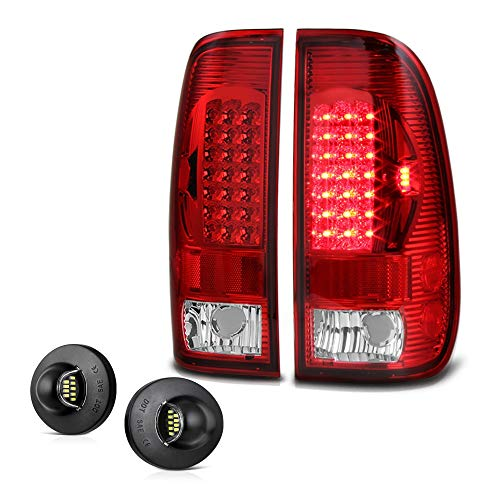 (VIPMOTOZ Red Lens LED Tail Light Assembly + LED License Plate Lamp Housing Replacement Bundle For 1997-2003 Ford F-150 & 1999-2007 F-250 F-350 Superduty Pickup Truck)