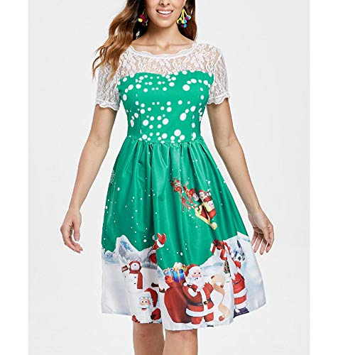 Verde Manica Casual Dress shirt Spiaggia FAN Natale vestito Babbo Sera Gonna Cocktail stampa Donna T Sciolto Natale Pizzo gonna Corta Vestito Maxi Vestito ODJOY Felpe Elegante xv47wUqB