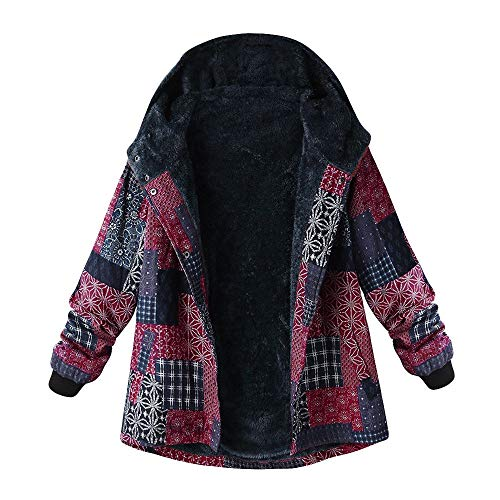 Plus Size Women Hooded Sweater, Duseedik Ladies Long Sleeve Vintage Ladies Fleece Thick Coats Zipper Coat ()