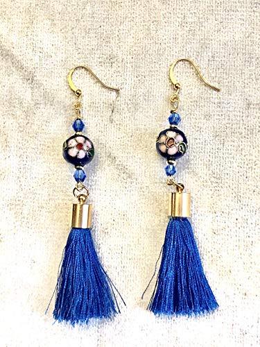 Chandelier Blue Flower Cloisonne Royal Blue Tassels Gold Earrings