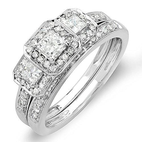 1.00 Carat (ctw) 14k White Gold Round & Princess Cut 3 Stone Diamond Ladies Engagement Ring Matching Wedding Band Set 1 CT (Size 8)