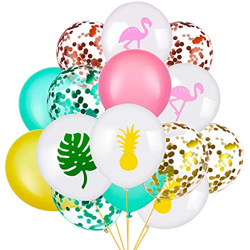 SATINIOR Set of 45 Hawaii Party Decorative Balloon Flamingo Tropical Leaf Pineapple Balloons Colorful Balloon with Round Confetti for Hawaii Luau Party Decorations (Style -