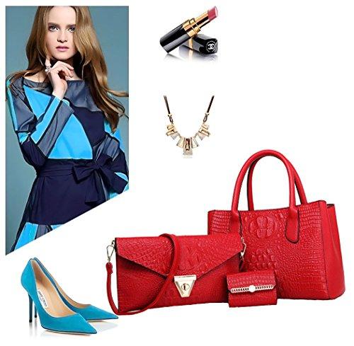 Borse Rosso 3 Borse Borse a tracolla Borse Tote Pelle pezzi Blu secchiello Vino Donna Borse mano a a spalla a qH4ZRt