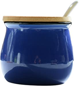 Simplicity Pure Color Sugar Bowl Salt Pepper Storage Jar Pot Sugar Container Dispenser Seasoning Pot Condiment Spice Box with Wooden Lid and Spoon, 13.5 Oz, Dark Blue