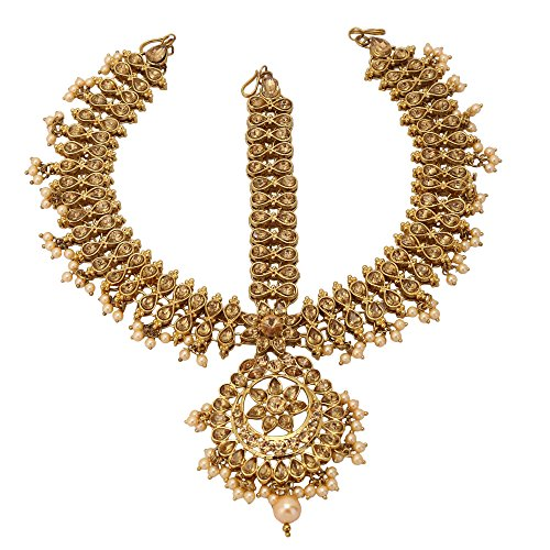 Jwellmart Indian Ethnic CZ Kundan Faux Pearl Partywear Matha Patti Maang tikka for Women and Girls (Brown) by Jwellmart
