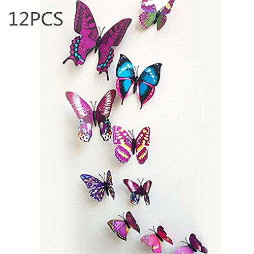 12Pcs Art Decal Home Decor Room Wall Stickers 3D Butterfly Stickers Decorations - 8