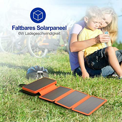 IEsafy 26800mAh Solar Powerbank mit 4 Solar Paneel große Kapazität Solar Ladegerät, geeignet für iPhone, Samsung, iPad, Huawei