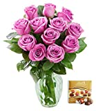 #7: KaBloom Bouquet of 12 Fresh Cut Purple Roses (Long Stemmed) with Vase and One Box of Lindt Chocolates