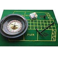Set per roulette, in confezione regalo, con fiche, tappetino in feltro e rastrello