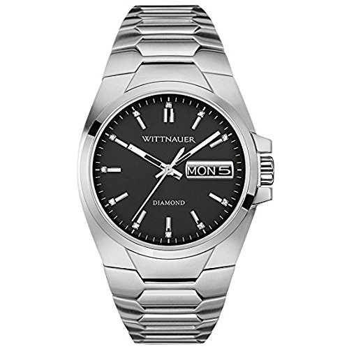 Wittnauer Silver Tone Black Dial Bracelet Watch WN3044 (Wrist Wittnauer Silver Watch)